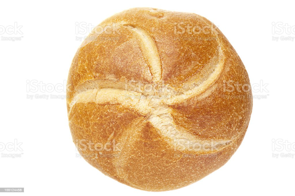 German bread roll on white background stock photo