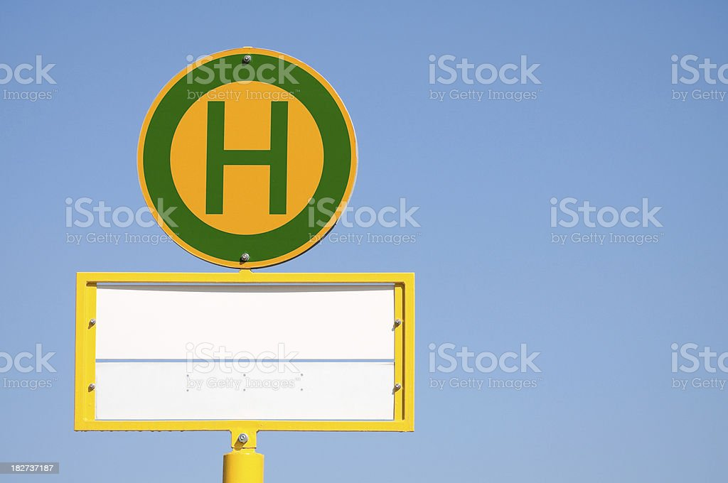 German bus stop sign, copy space, empty royalty-free stock photo