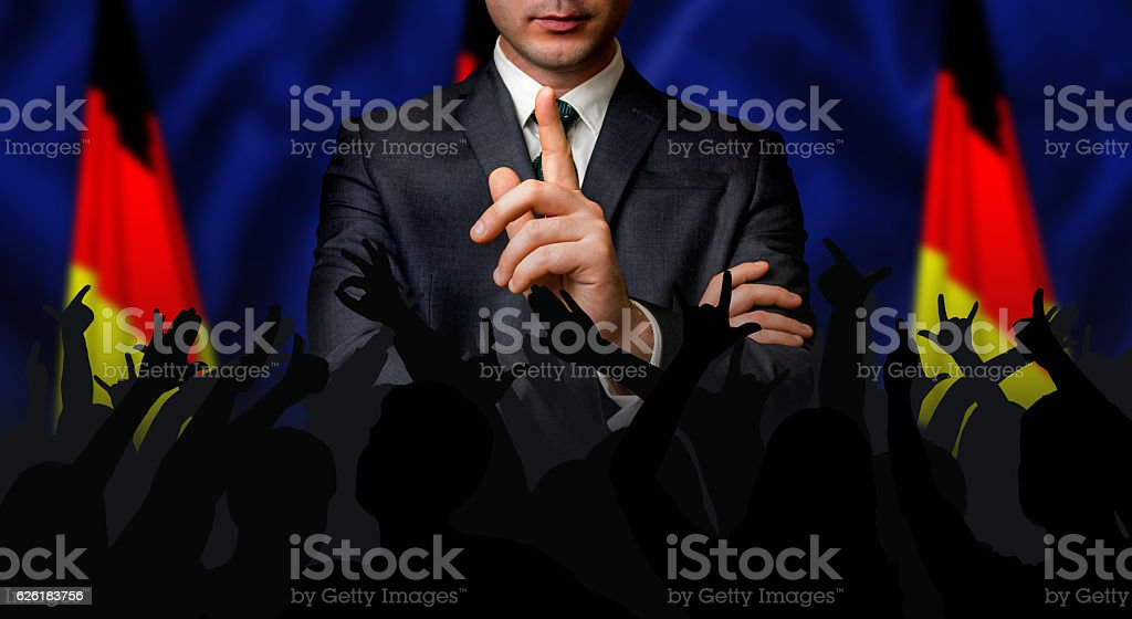 German candidate speaks to the people crowd stock photo
