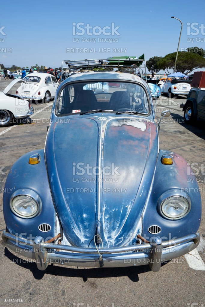 German car enthusiasts gather to socialize and display their vintage Volkwagen cars stock photo