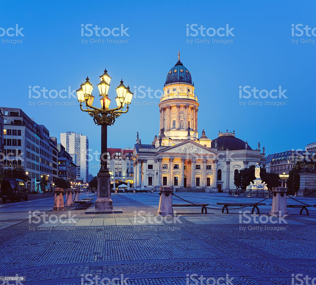 German Cathedral on Gendarmenmark in Berlin at night stock photo