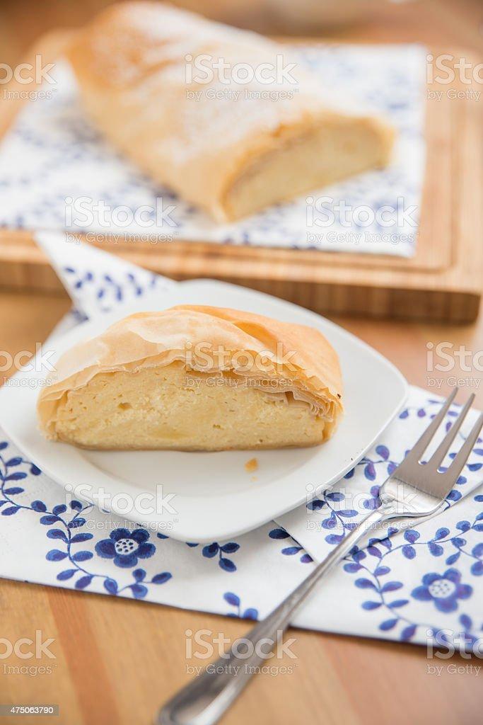 German Cheesecake Strudel stock photo