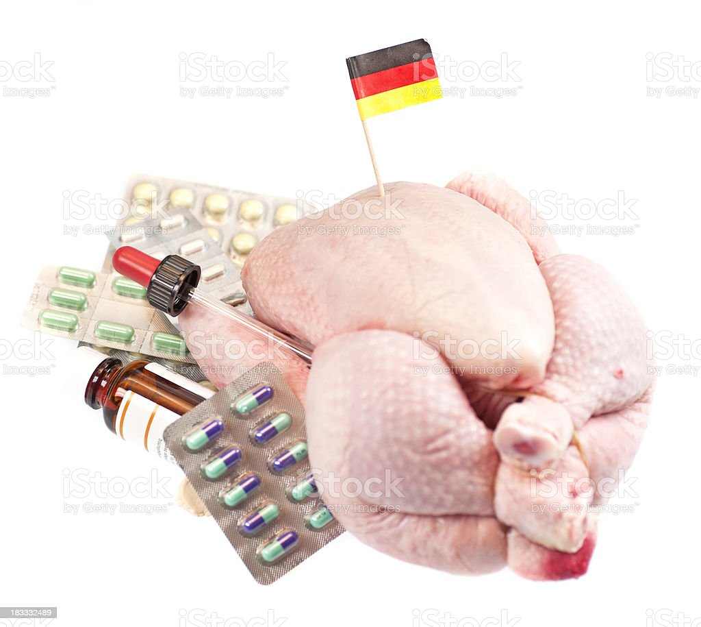 german chicken with medicals and flag royalty-free stock photo