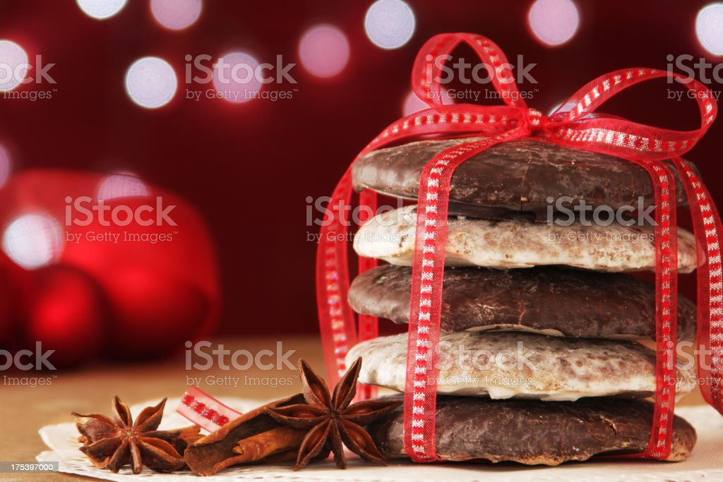 German Christmas cookies with red bow and Christmas lights stock photo