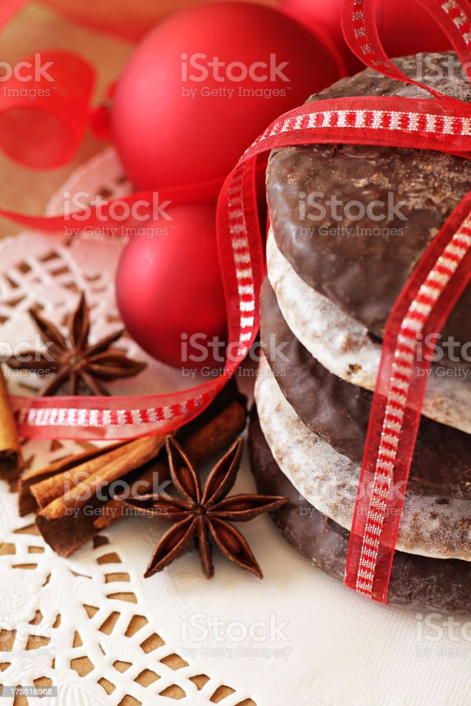 German Christmas cookies with red bow and red ornaments royalty-free stock photo