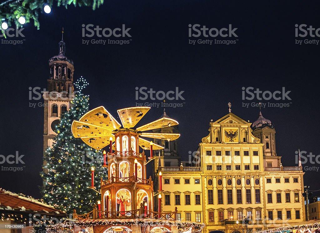 German Christmas Market - Christkindlesmarkt Augsburg at night stock photo