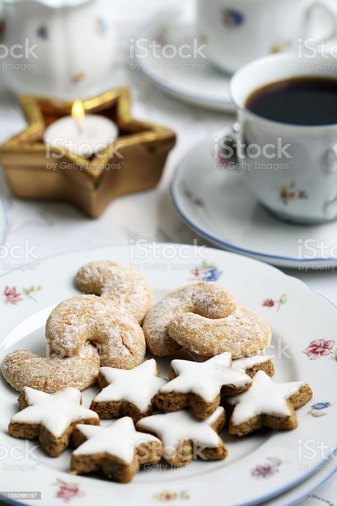 German Christmas Pastry and Coffee stock photo