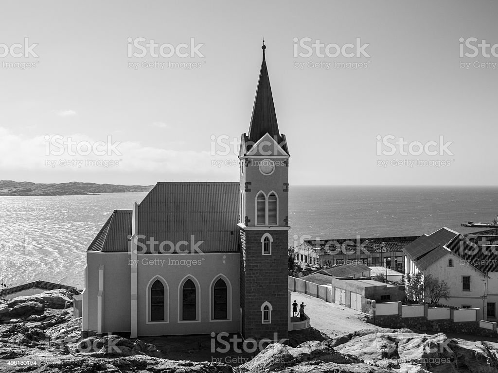German colonial church in namibian Luderitz stock photo