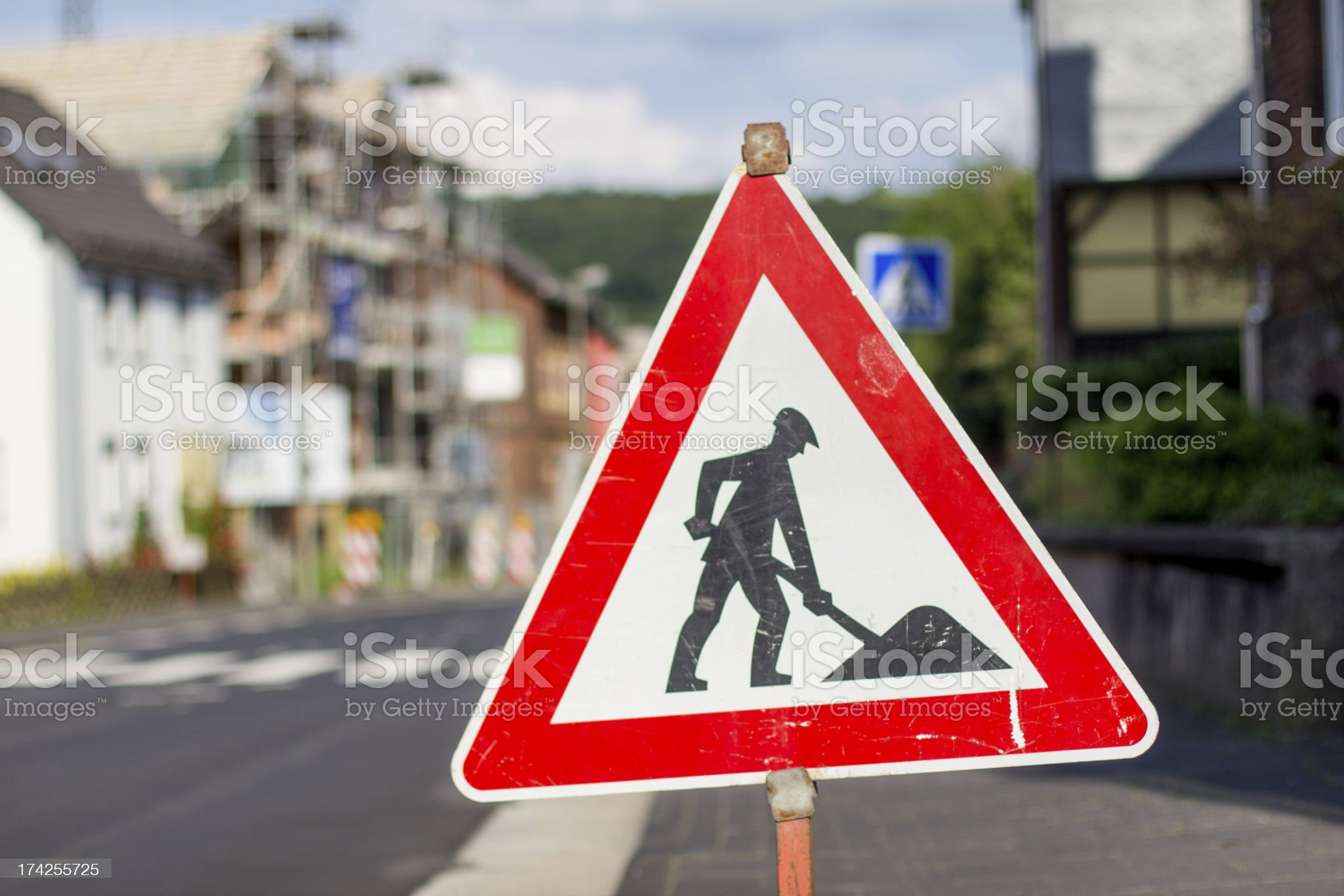 german construction side sign royalty-free stock photo