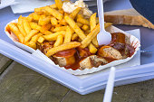 German currywurst with french fries