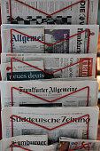 German daily newspapers in rack