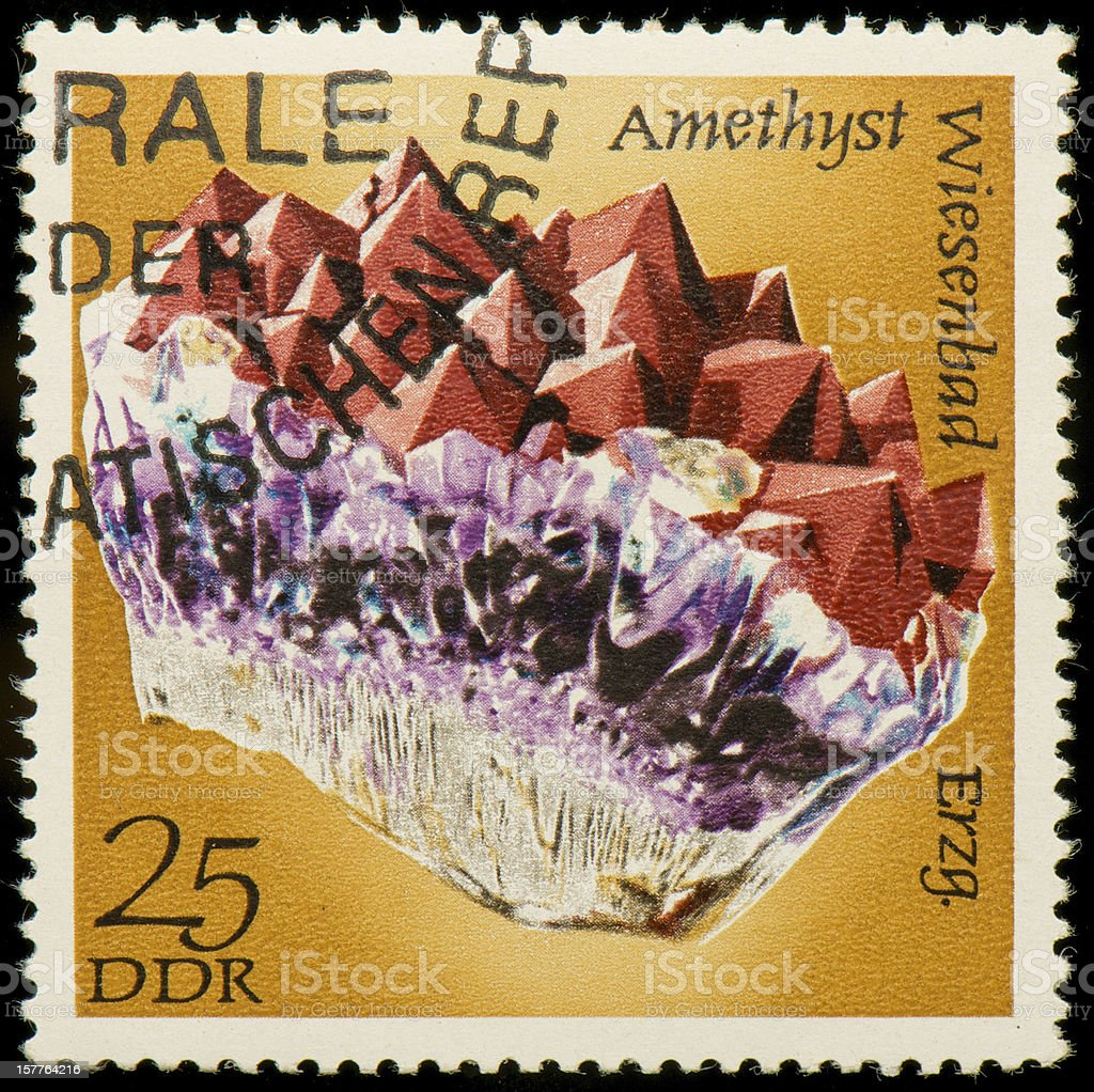 German Democratic Republic postage stamp with amethyst royalty-free stock photo