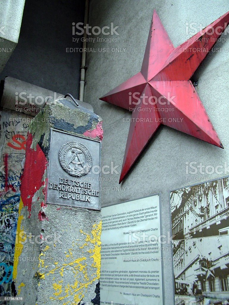 German Democratic Republic sign and red star, Berlin, Germany stock photo