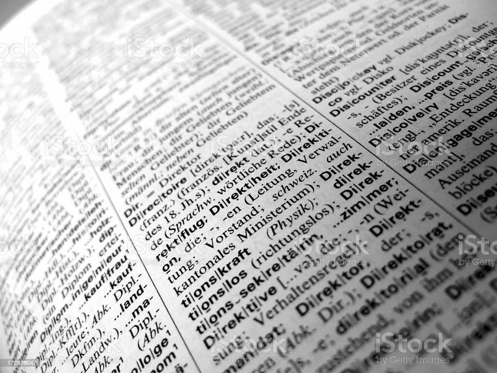 german dictionary text stock photo