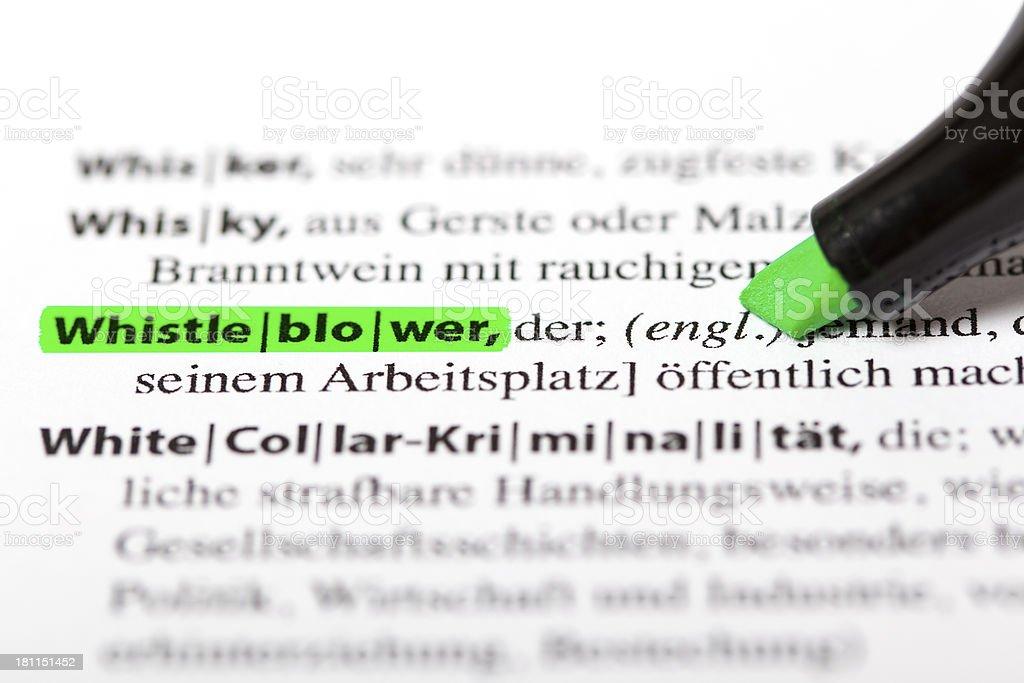 German dictionary text - Whistleblower stock photo