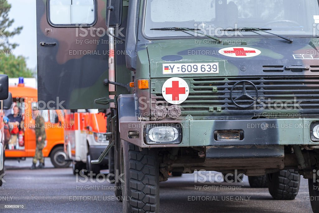 german DLRG trucks stands in waiting position for the flood stock photo