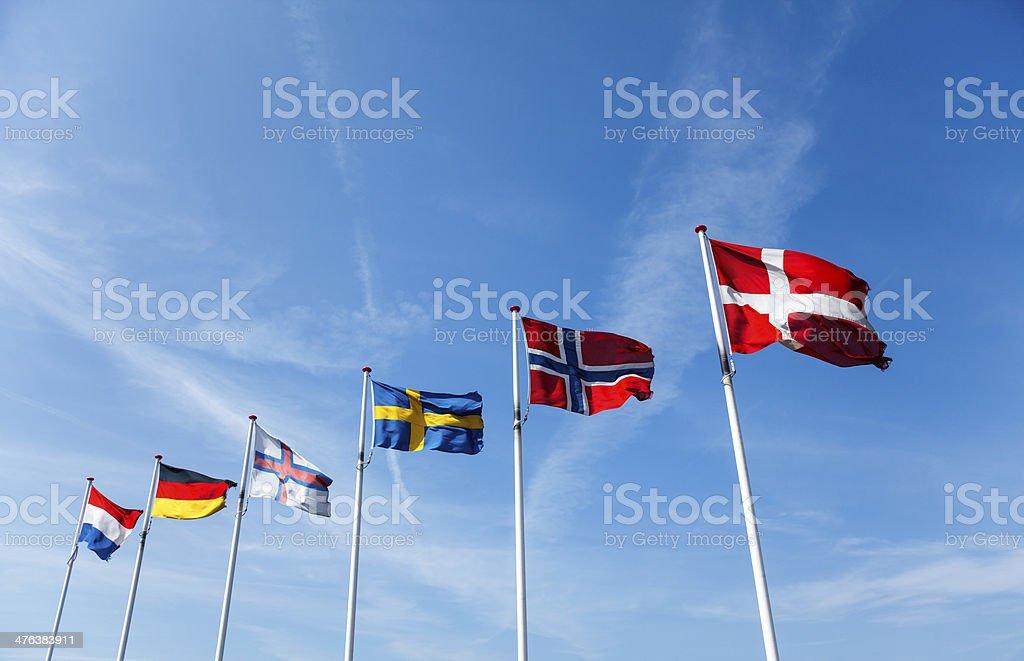 German, Dutch, Faeroe Islands, Swedish, Norwegian and Danish flags stock photo