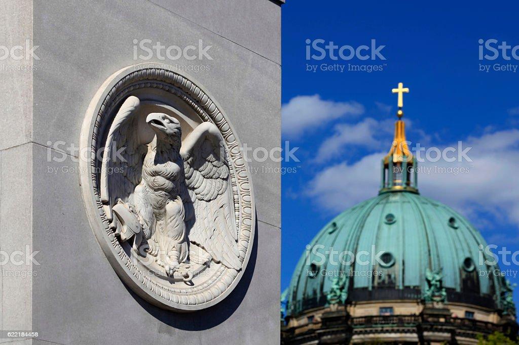 German eagle on the Palace Bridge in Berlin stock photo