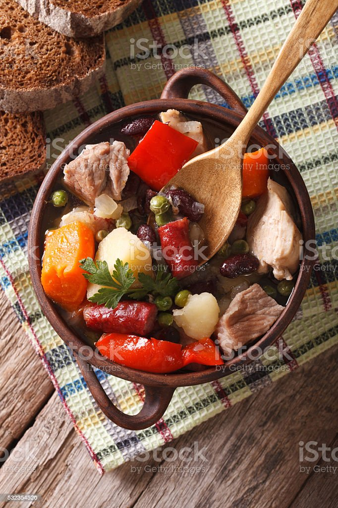 German eintopf soup with meat and vegetables close-up vertical stock photo