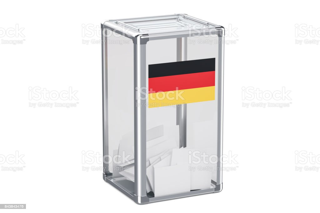 German election ballot box with flag, 3D rendering isolated on white background stock photo