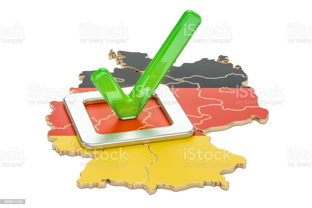 German election concept, vote in Germany, 3D rendering isolated on white background stock photo