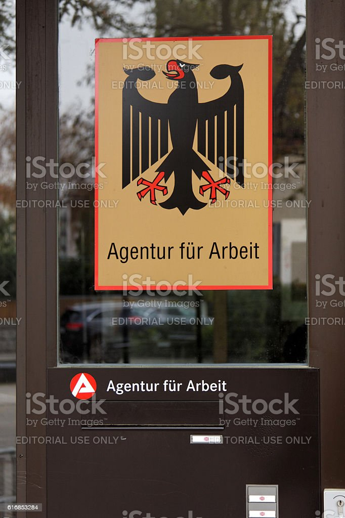 german employment center - federal eagle stock photo