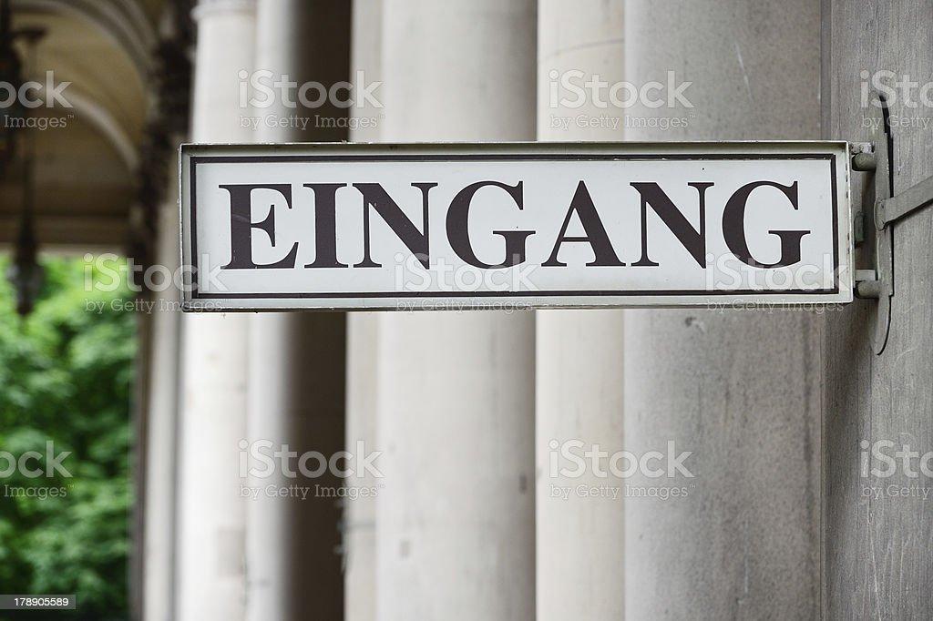 German entrance sign 'Eingang' royalty-free stock photo