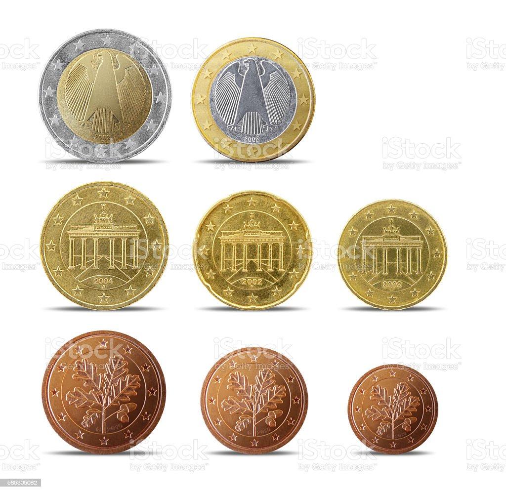 German euro coins stock photo