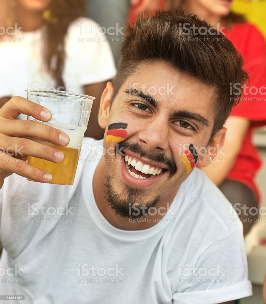 German Fan at the Stadium with Beer royalty-free stock photo