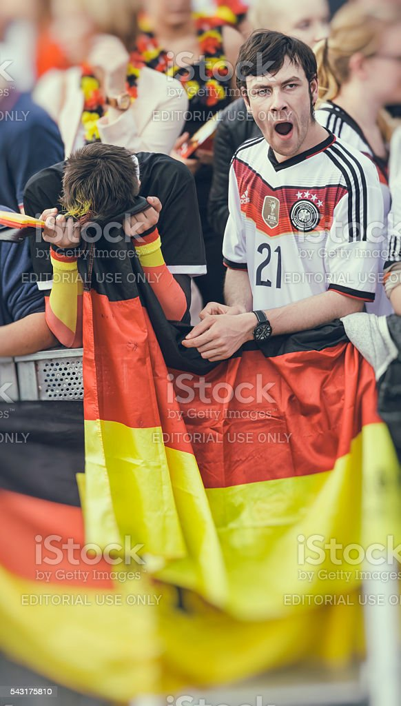 German fan supporters sad bored and disappointed stock photo