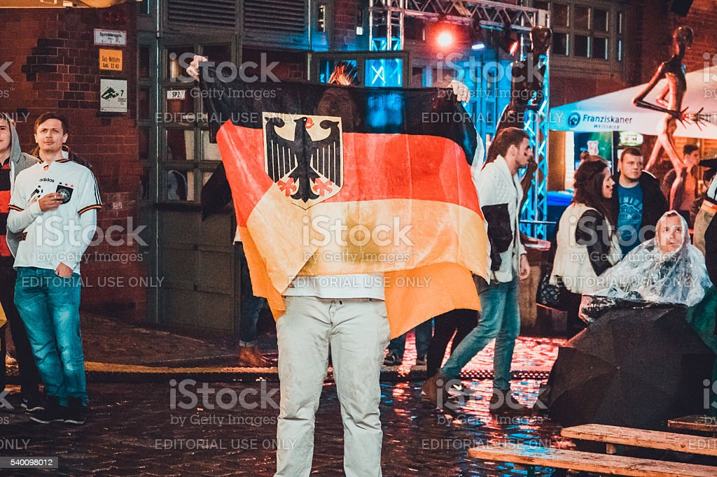 German fan with flag stock photo