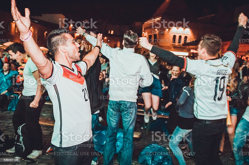 German fans celebraiting stock photo