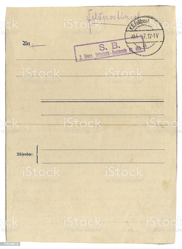 German Field Post Office letter, 1917 royalty-free stock photo