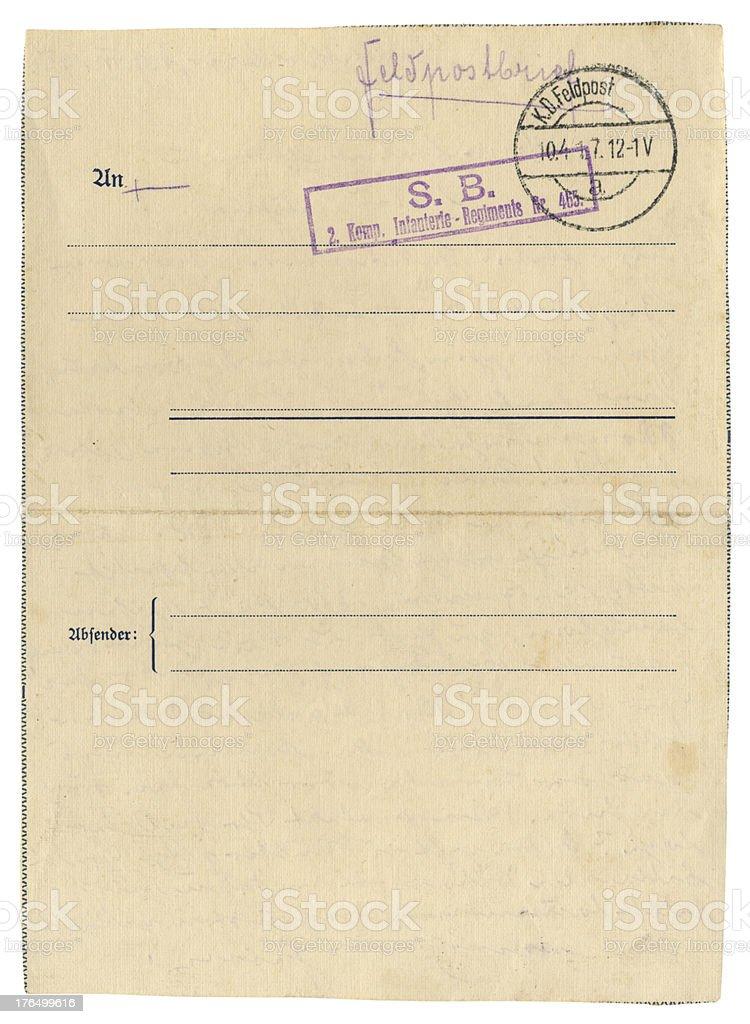 German Field Post Office letter, 1917 stock photo