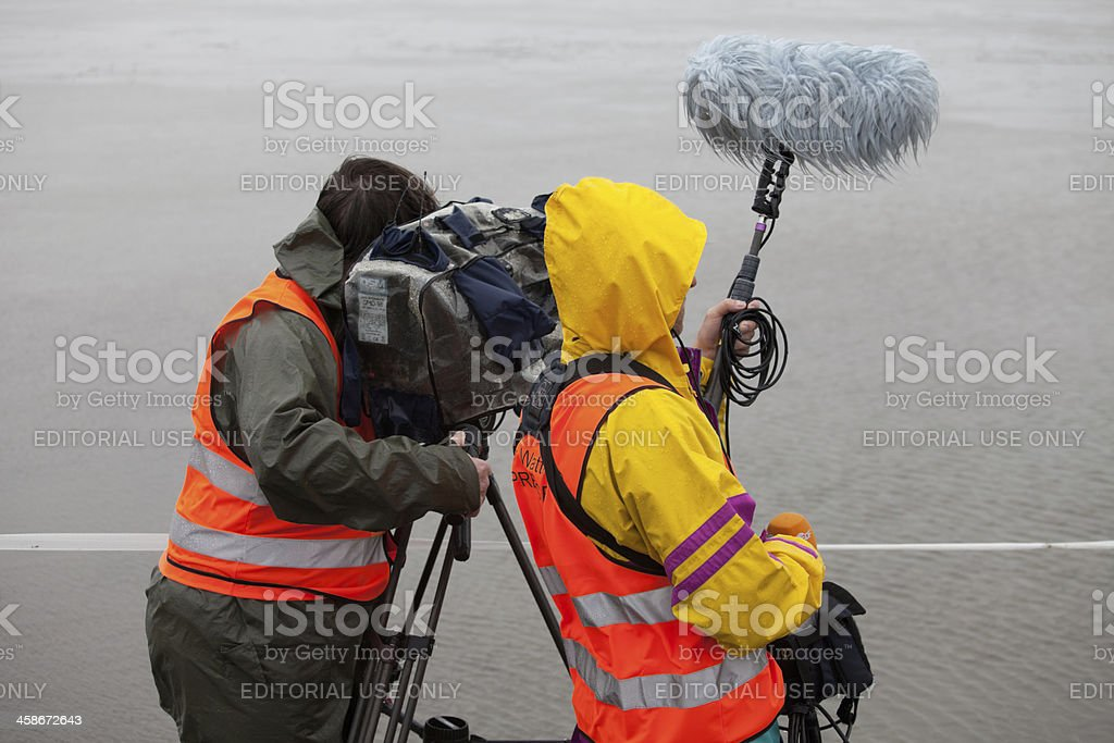 German film crew at Duhner wadden race stock photo
