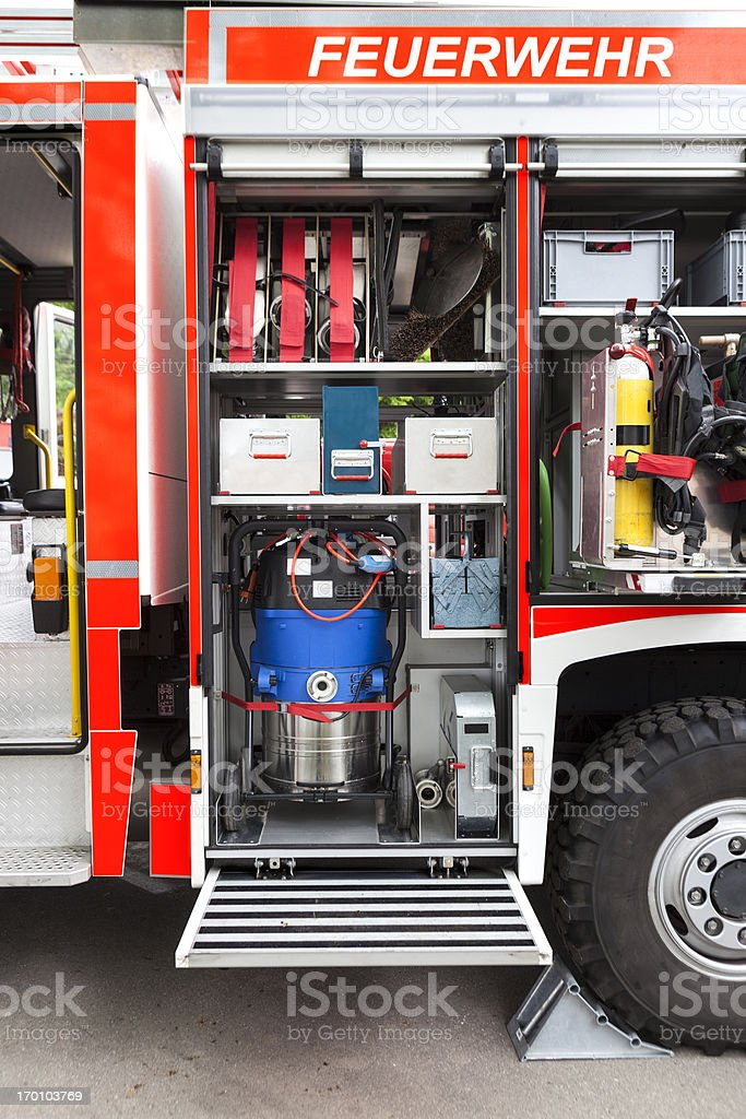German fire engine in action - firefighters equipment royalty-free stock photo