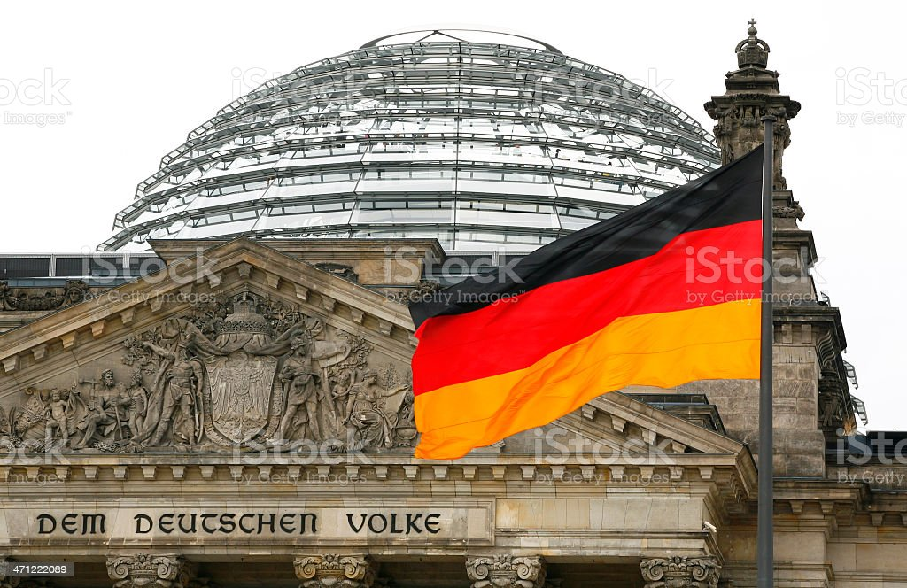German flag and Reichstag royalty-free stock photo