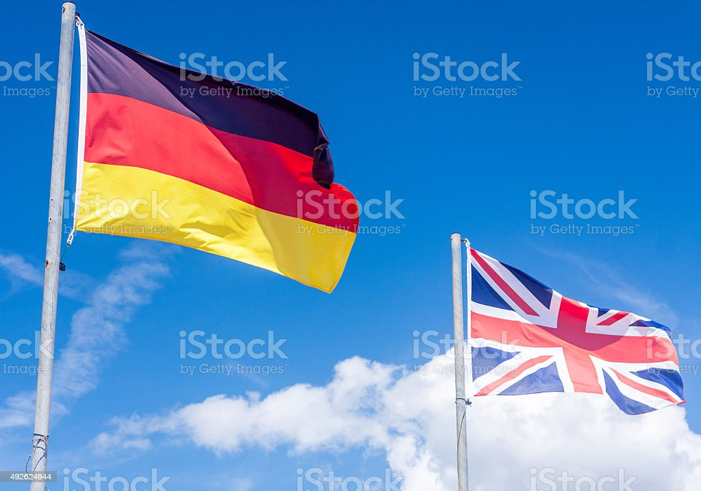 German flag and Union flag stock photo