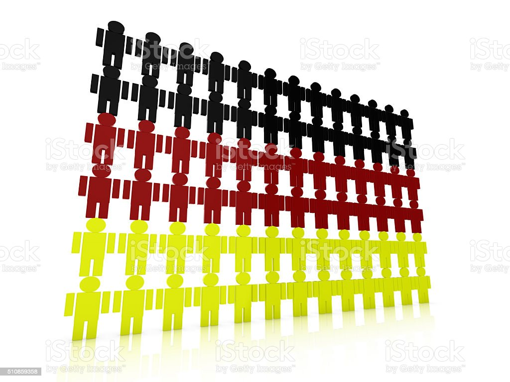 German flag in 3d composed of little men stock photo