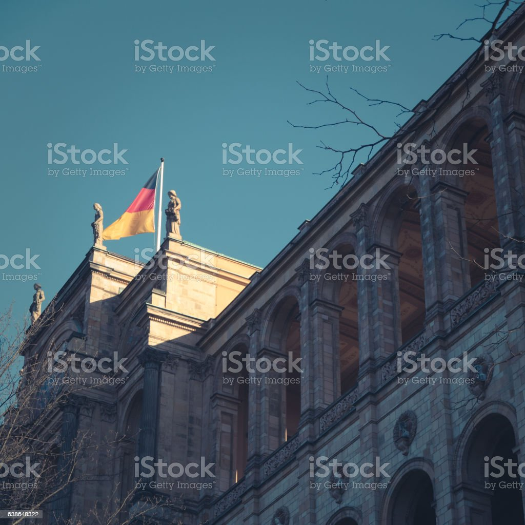 German Flag On Bavaria State Parliament stock photo