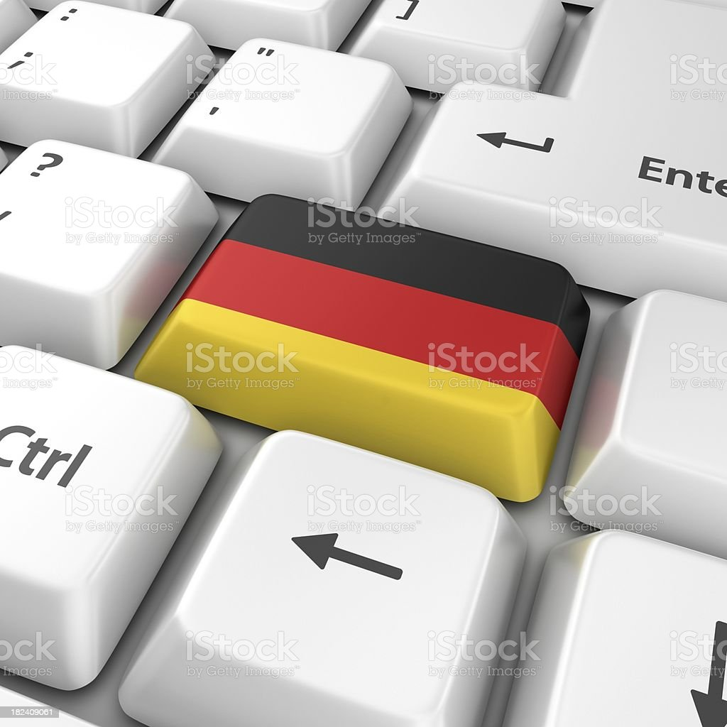 german flag on computer key royalty-free stock photo