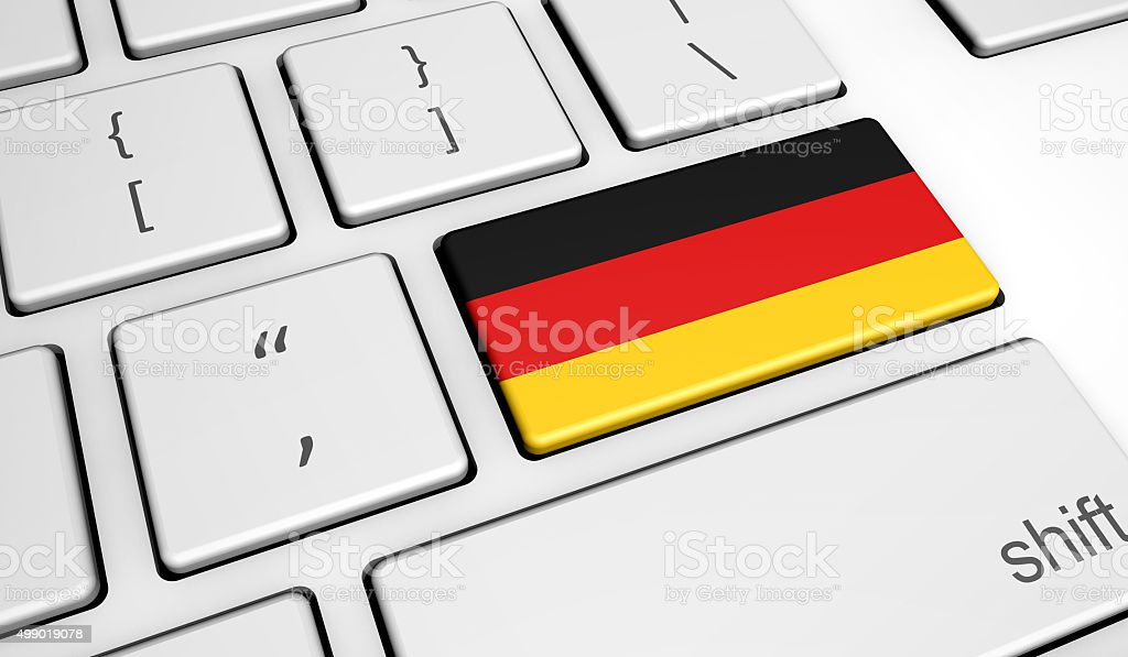 German Flag On Computer Key stock photo