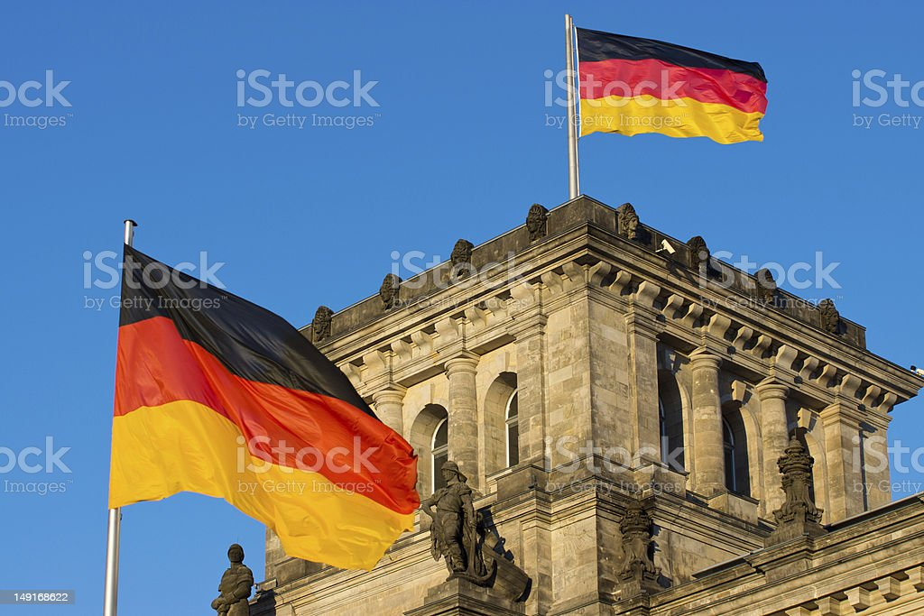 German flags at the Reichstag stock photo