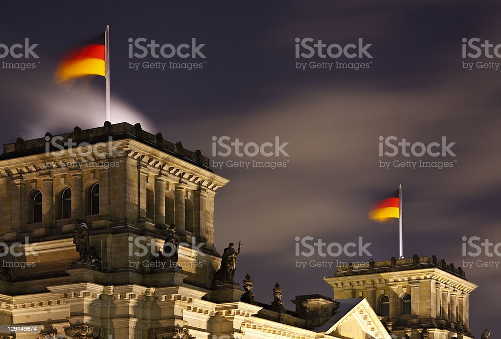German Flags On Reichstag At Night royalty-free stock photo