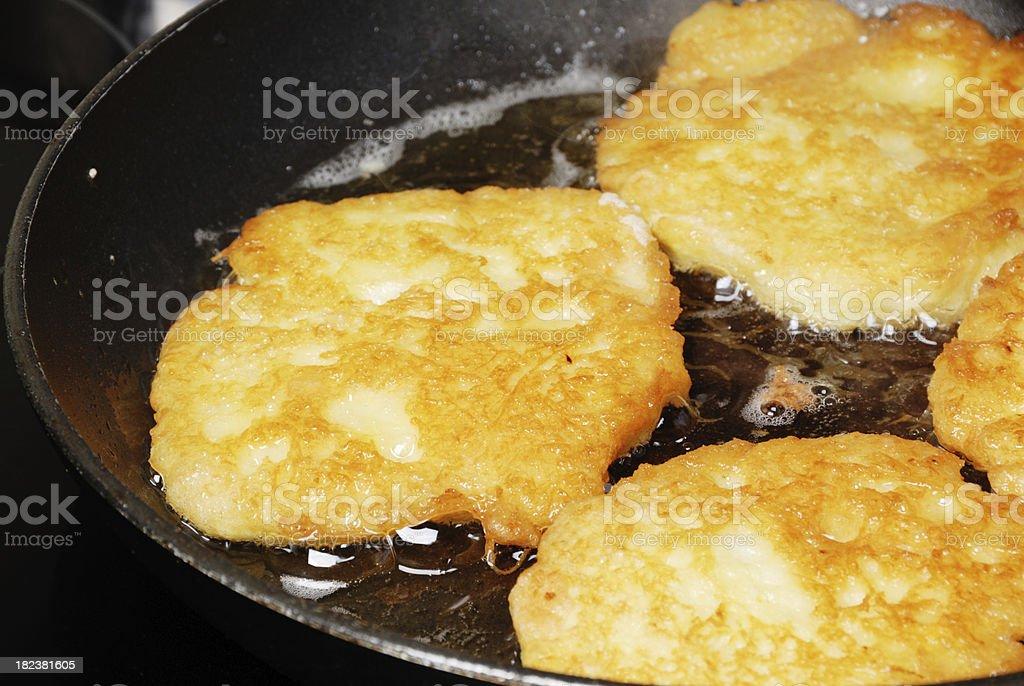 german food- pancakes deepfrying stock photo