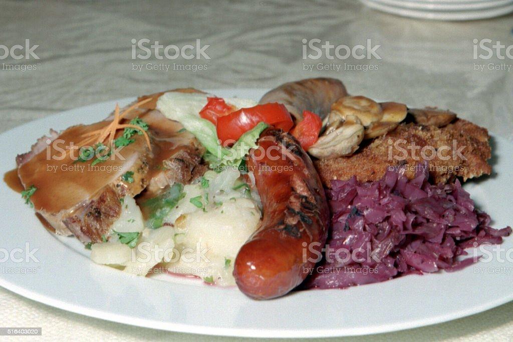 German food platter stock photo