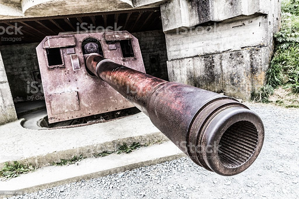 German gun at Longues-sur-Mer, Normandy stock photo