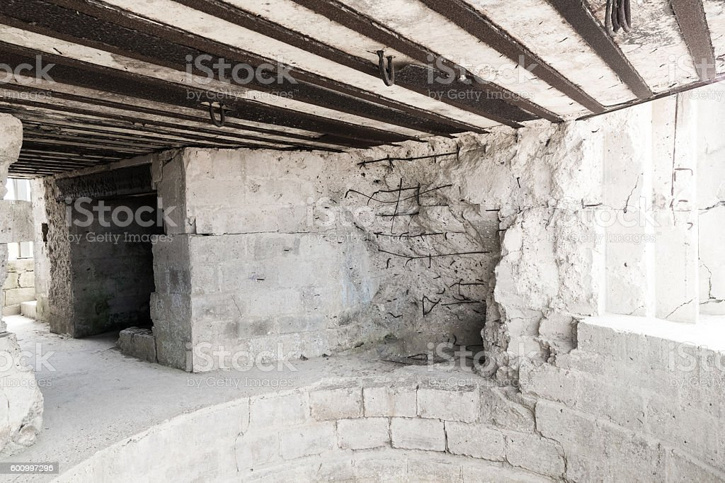 German gun emplacement, Pointe du Hoc, Normandy, France stock photo
