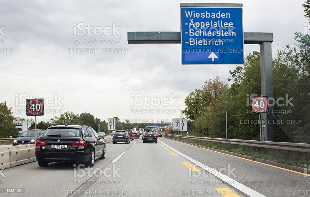 German highway A 643, Schiersteiner Bruecke stock photo