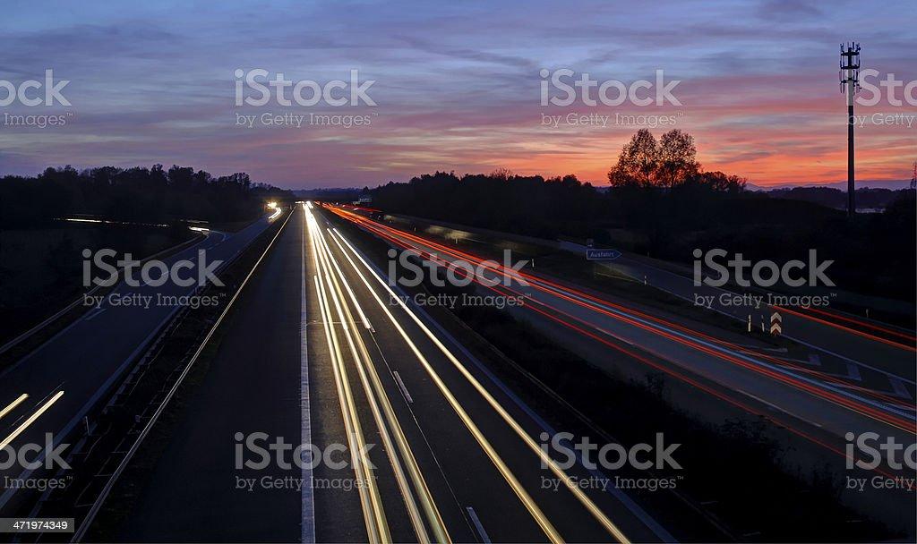German highway at night stock photo